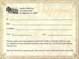 St. Augustine Bed and Breakfast Gift Certificates